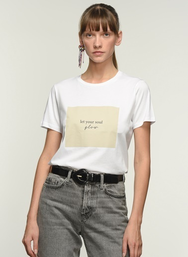 NGSTYLE Kadın Baskılı  Tişört NGKSS21TS0012 Beyaz